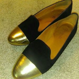 Madewell black and gold loafers